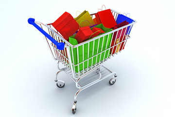 illustration of Shopping Cart with colorful bags