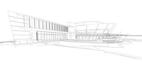 3d wireframe  render of the building