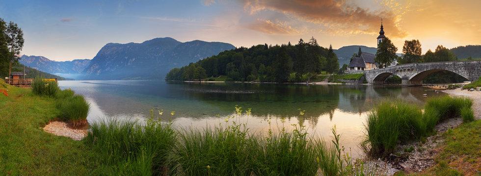 Alps in Slovenia - lake Bohinj , Mountain panorama at sunrise