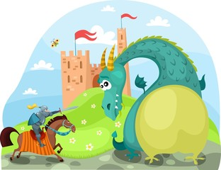 Spoed Fotobehang Ridders dragon and knight