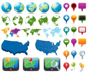 Maps And Navigation Pins