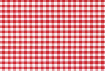 Classic linen red and white checked tablecloth texture