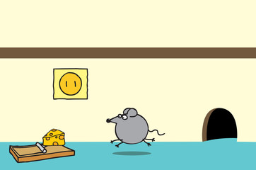Happy mouse and cheese on a trap