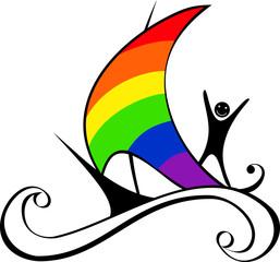boat with rainbow sail