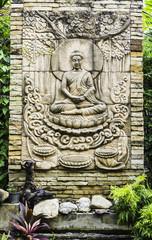 Buddha brick in the temple thailand