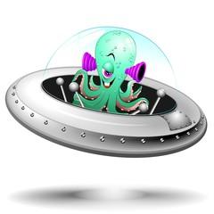 Astronave con Alieno Cartoon Spaceship with Funny Alien-Vector