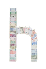 Letter h from money