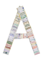 Letter A from money