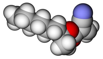 2-Octyl cyanoacrylate, an instant glue. 3D molecular structure