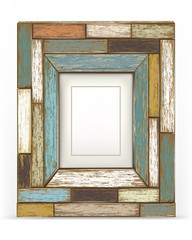 Old color wooden frame. vector illustration.