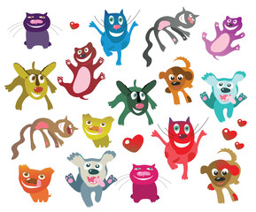 set of happy emoutional cats and dogs