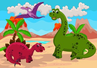 Photo sur cadre textile Dinosaurs Dinosaurs Family with background