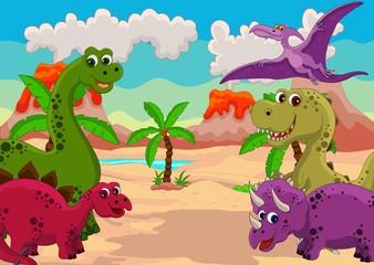 Fotobehang Dinosaurs funny dinosaur cartoon