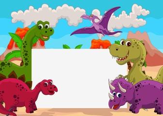 Fotobehang Dinosaurs funny dinosaur cartoon with blank sign