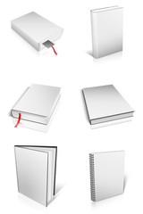 Group of Blank book with white cover on white background..