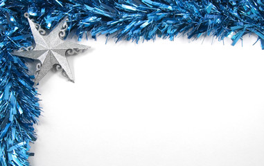 Silver Star and Blue Tinsel Christmas Decorations