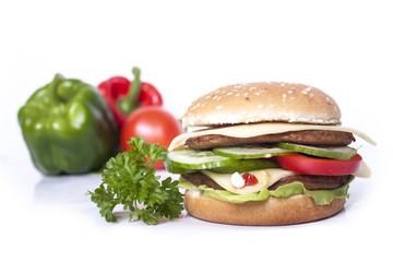 Podwójny burger z serem i warzywami