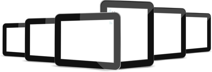 Black tablets set on white background