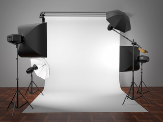 Photo studio equipment. Space for text.