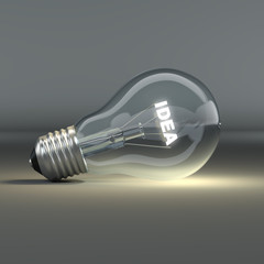 Light bulb with glowing text idea