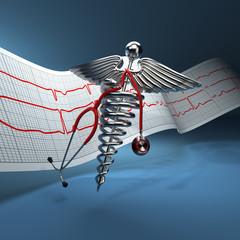 Medical background. Stethoscope, caduceus symbol  and cardiogram
