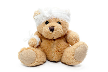 teddy bear with bandaged head