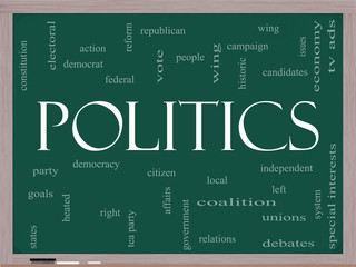 Politics Word Cloud Concept on a Blackboard