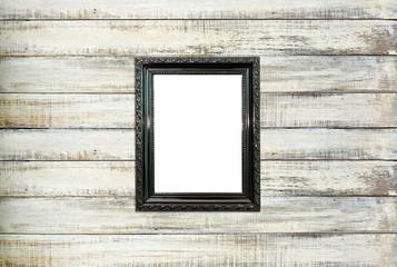 Black Vintage picture frame on old wood background