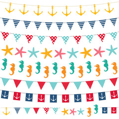 Marine bunting and garland set