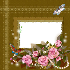 Frame with beautiful pink roses on romantic background