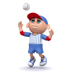 3d Baseball kid catches the ball