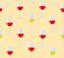 Elegant seamless of glasses of red and white wine on sweet color