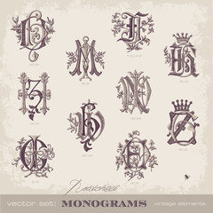 collection of embroidered monograms