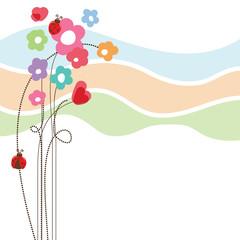 Wall Mural - Cute floral love card