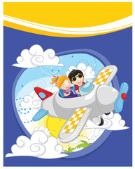 Printed roller blinds Airplanes, balloon Flying kids vector illustration