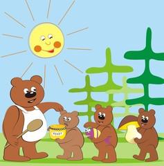 Wall Murals Bears bear family