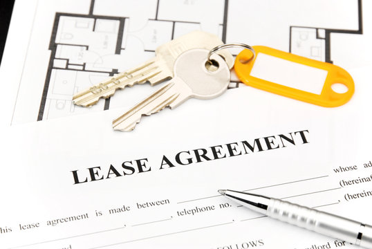 Lease agreement document with keys