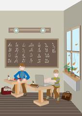 Children prepare lessons in school