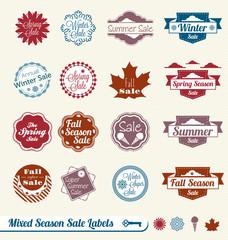 Vector Set: Mixed Season Shopping Sale Labels