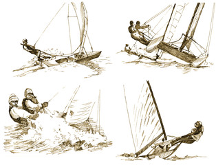yachts - sailing, drawings converted to vector