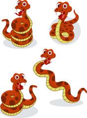 Illustraiton of comical snakes on white