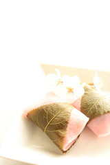 japanese confectionery, Pink Mochi with cherry blossom