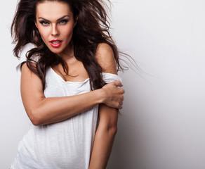 Beautiful woman. Studio photo.