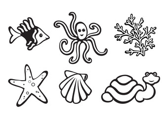 Sea animals isolated on white, set of icons