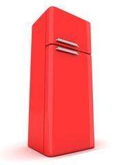 red refrigerator on white background