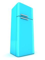 blue refrigerator on white background