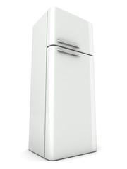 shiny modern white refrigerator on white background