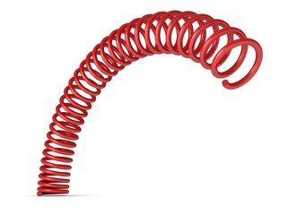 red bent spring spiral on white background