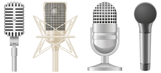 icon set of microphones illustration
