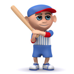 3d Baseball kid ready to hit the ball out the park